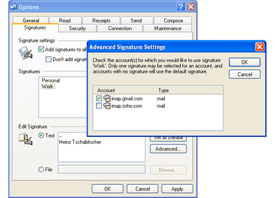 How to create an email signature in outlook outlook 2003 and outlook express advanced signature settings reheart Gallery