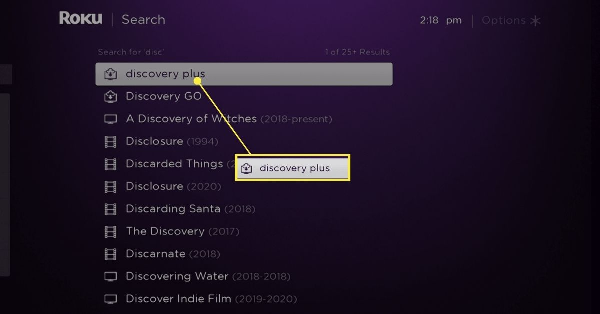 Discovery Plus highlighted in Roku search results.