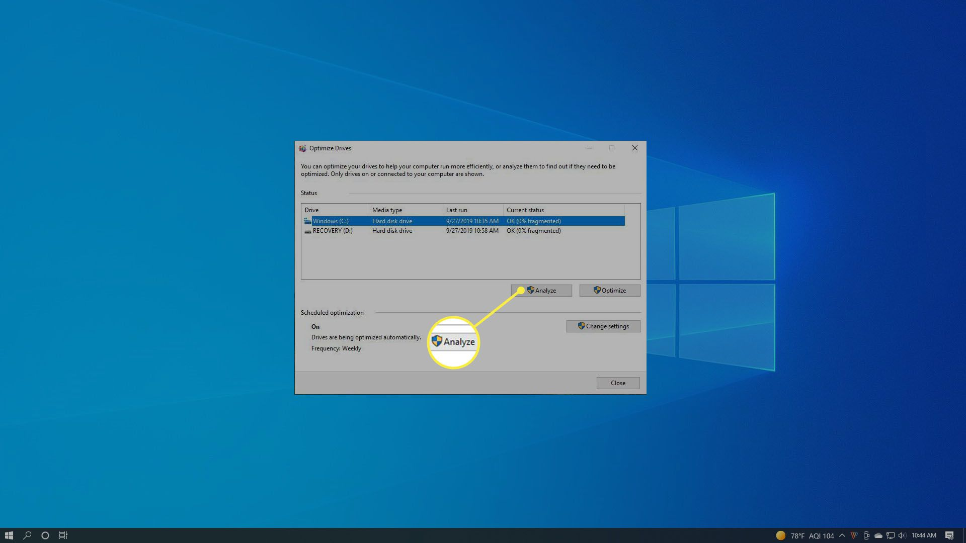 Selecting Analyze in Windows 10 defrag.