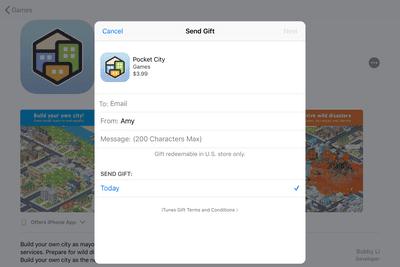 iPad app gifting screen