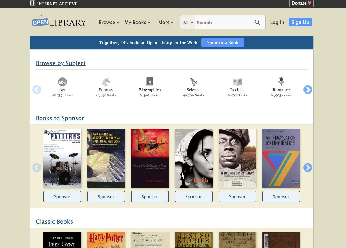 Open Library, where you can download free Nook eBooks