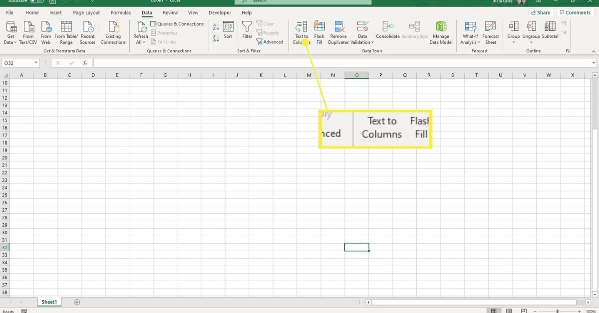 Text to Columns option in Excel.