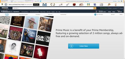 Screenshot of Amazon Prime Music webpage