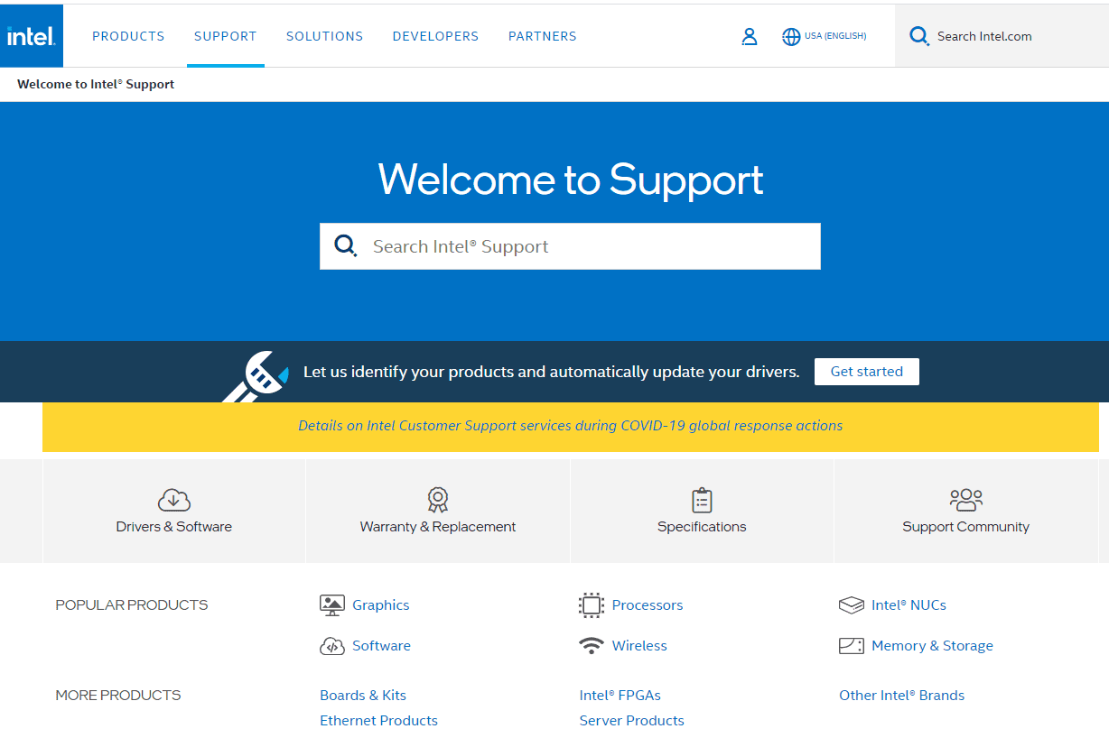Intel Support site