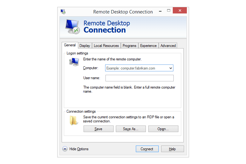 Screenshot Of Windows Remote Desktop Connection