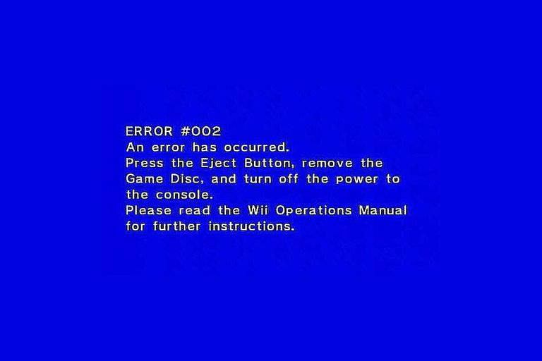 Wii Error #002 Message screenshot