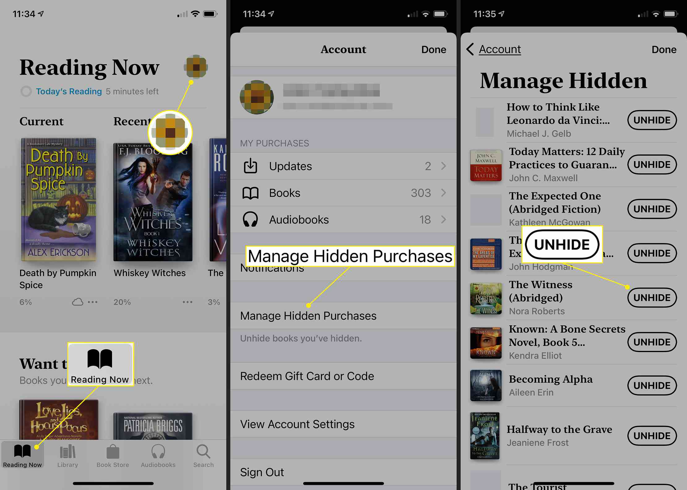 iOS Books app showing path to hidden books