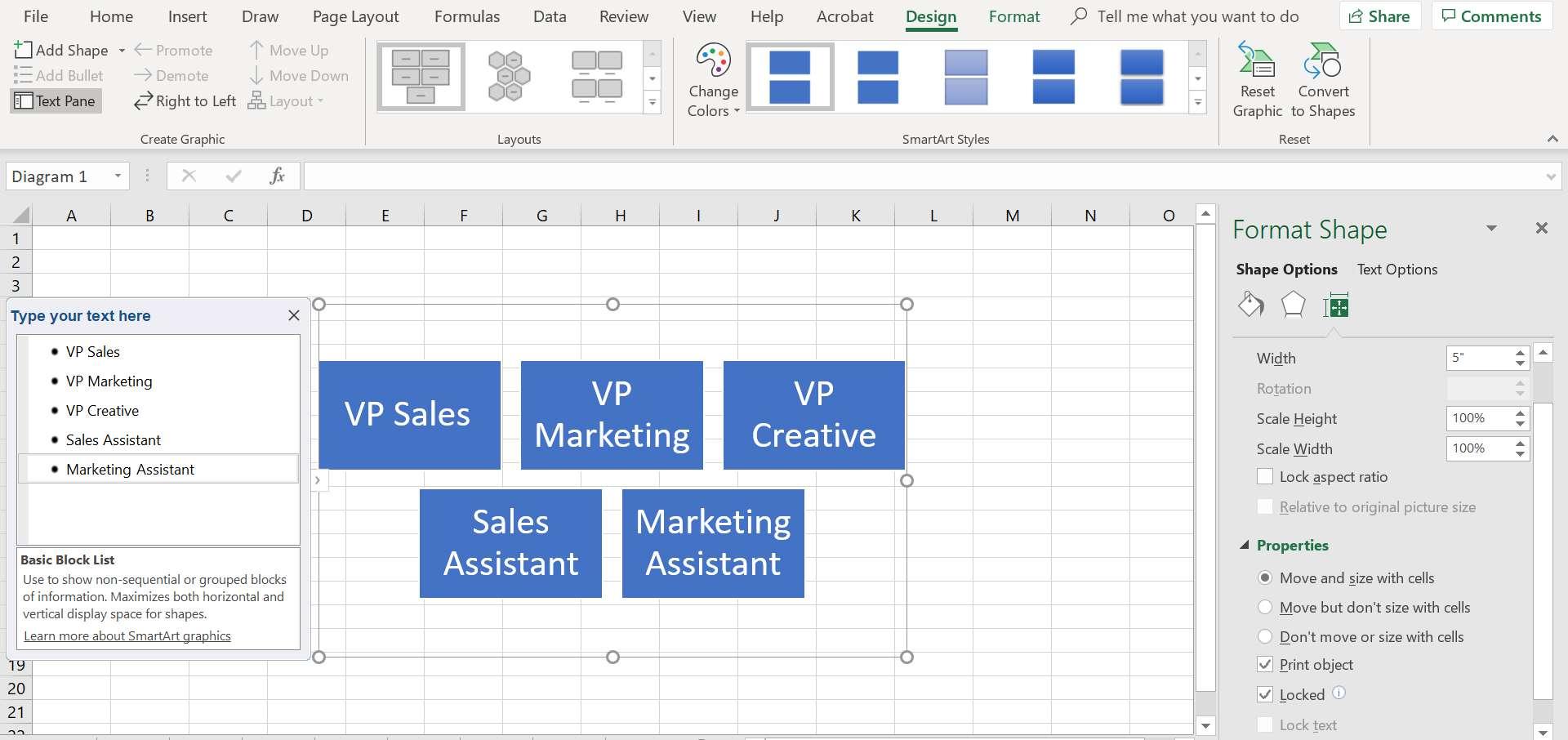Excel's format shape task pane.