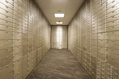 Empty bank vault with safety deposit boxes