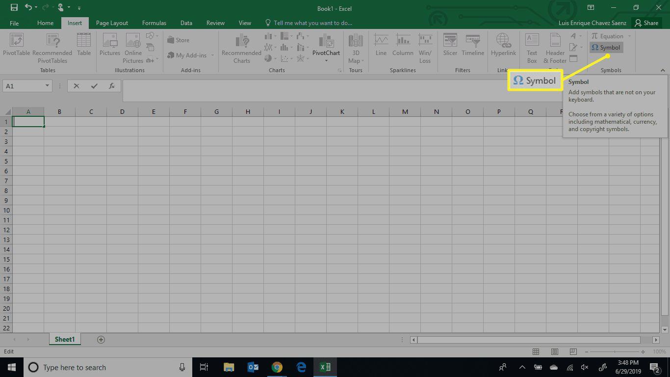Excel Symbol menu location