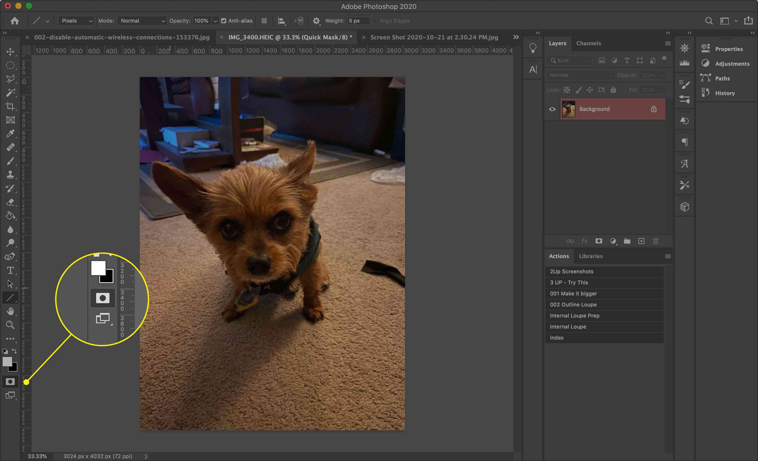 The Quick Mask tool in Photoshop