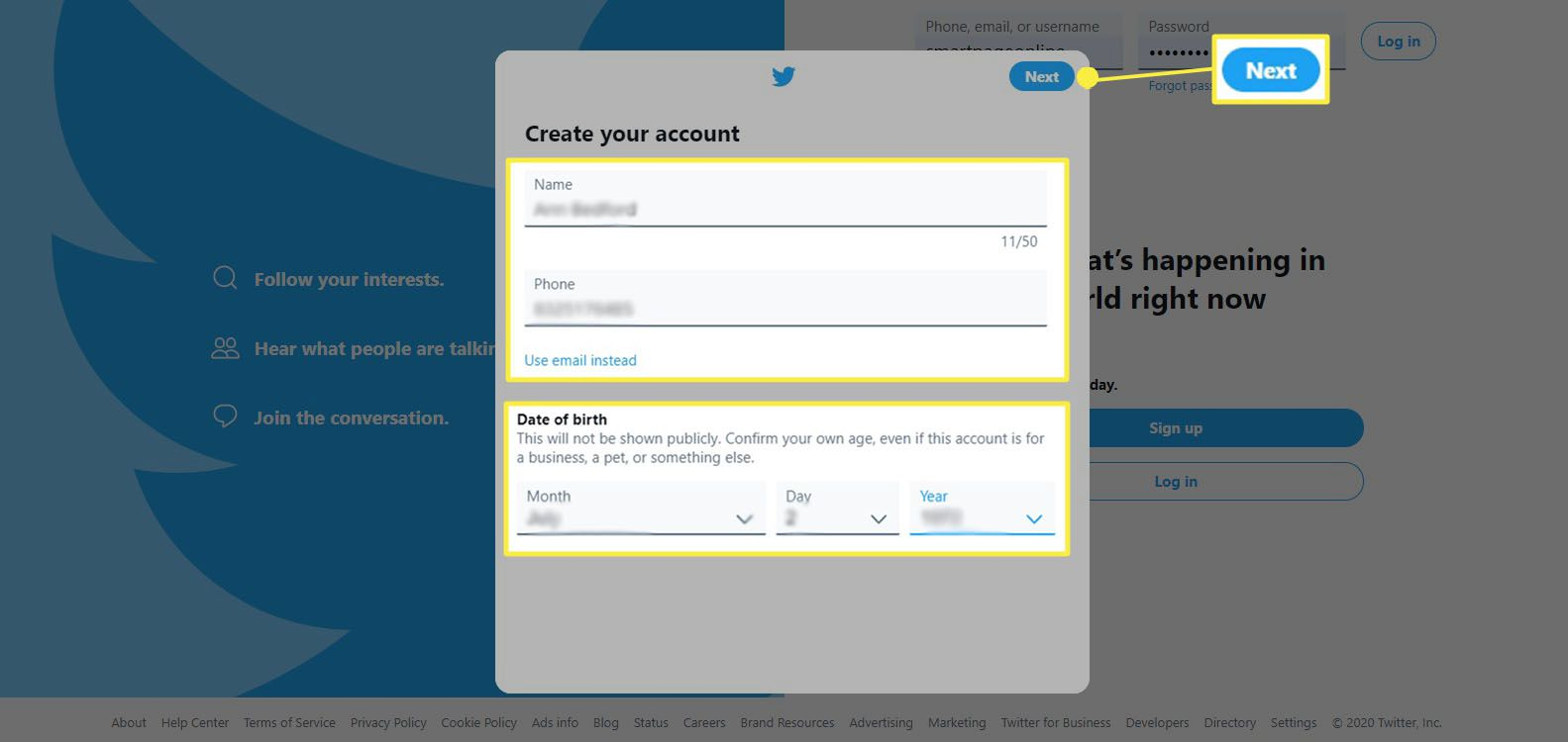 Signing up on Twitter; enter your name, phone or email and date of birth