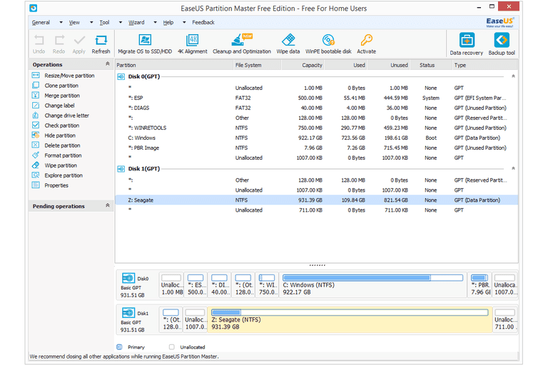 Screenshot of EaseUS Partition Master Free Edition 12.9 in Windows 8