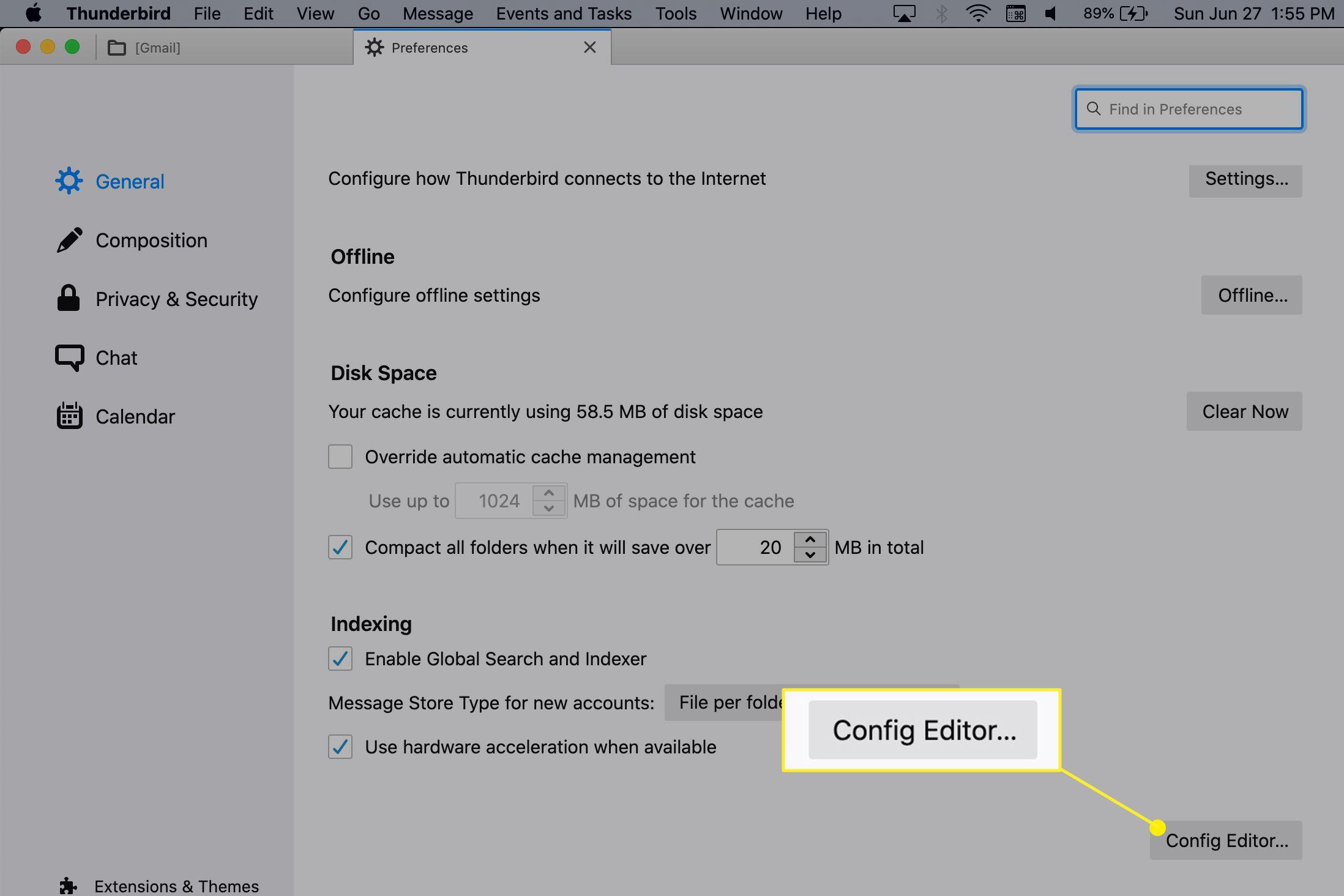 Config Editor button highlighted in Thunderbird