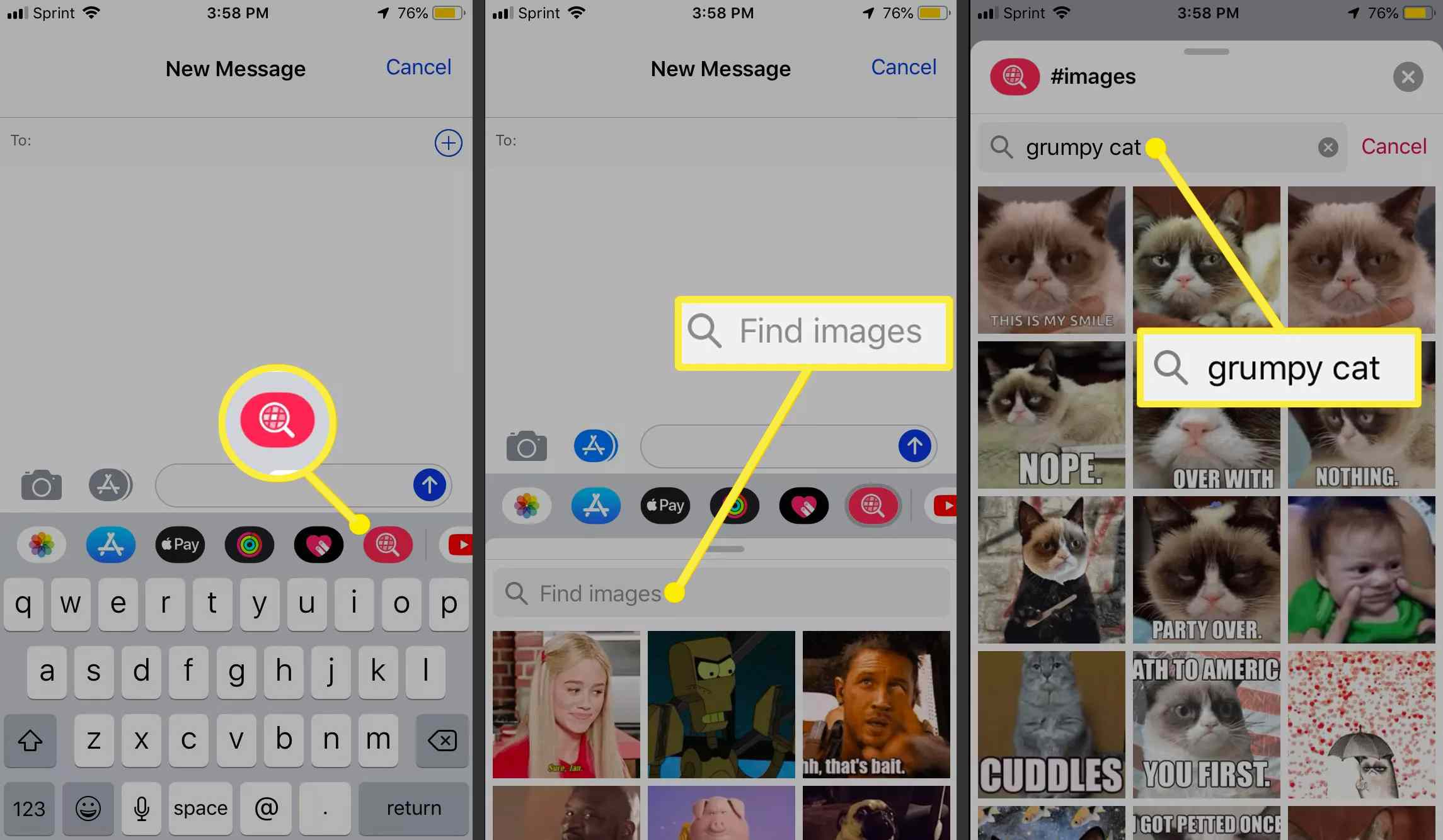 Location of a GIF in the iPhone Messages app