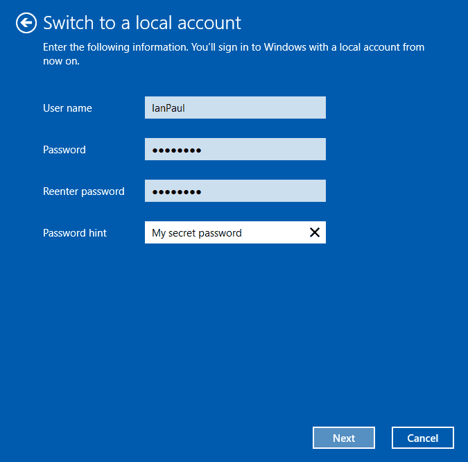 Enter the details you want for your local account