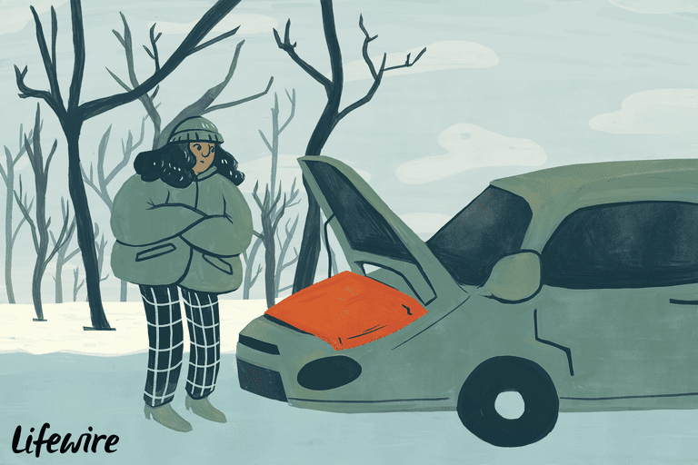Illustration of a car engine block heater blanket and a person dressed in winter clothes