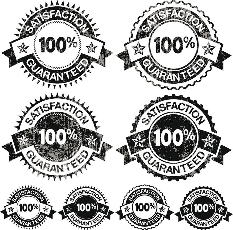 100% Satisfaction Guaranteed Badges black and white vector icon set