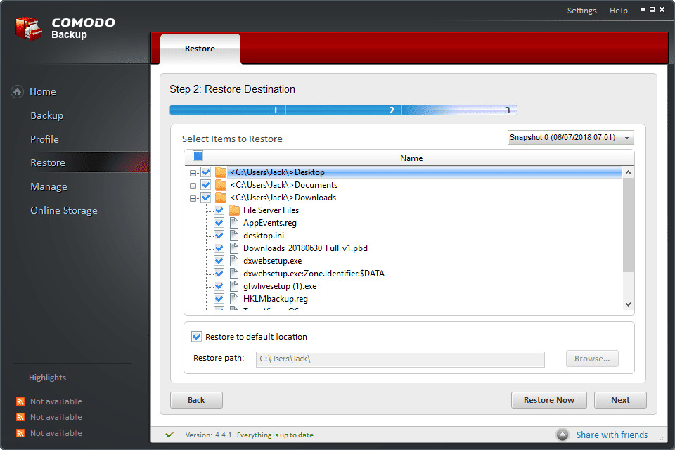 Screenshot of the contents of a CBU file in Comodo Backup