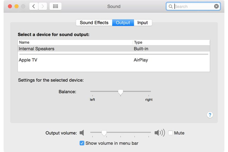 Internal Speaker Volume (Sound Preference Pane) screenshot