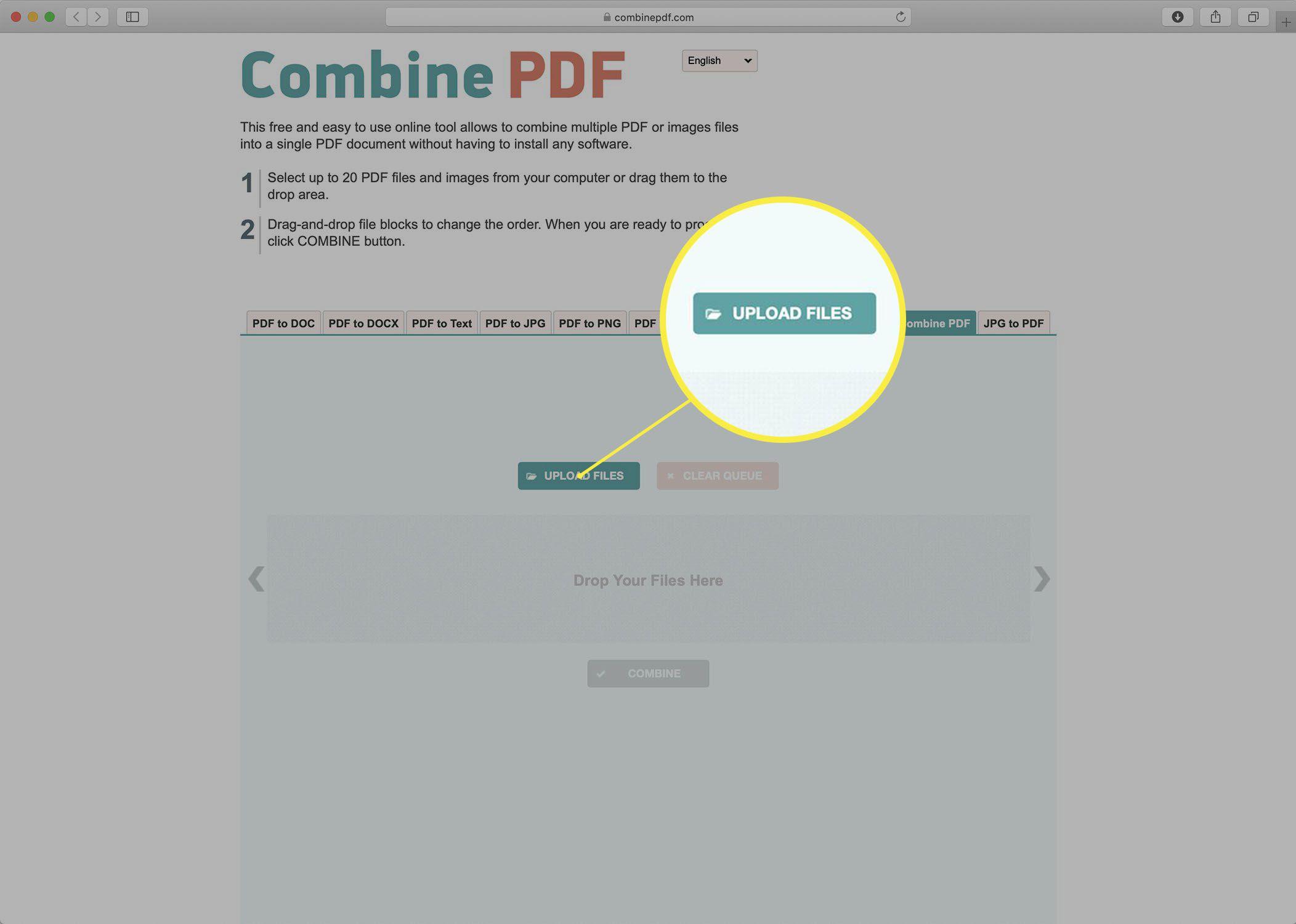 Screenshot of the Combine PDF website.