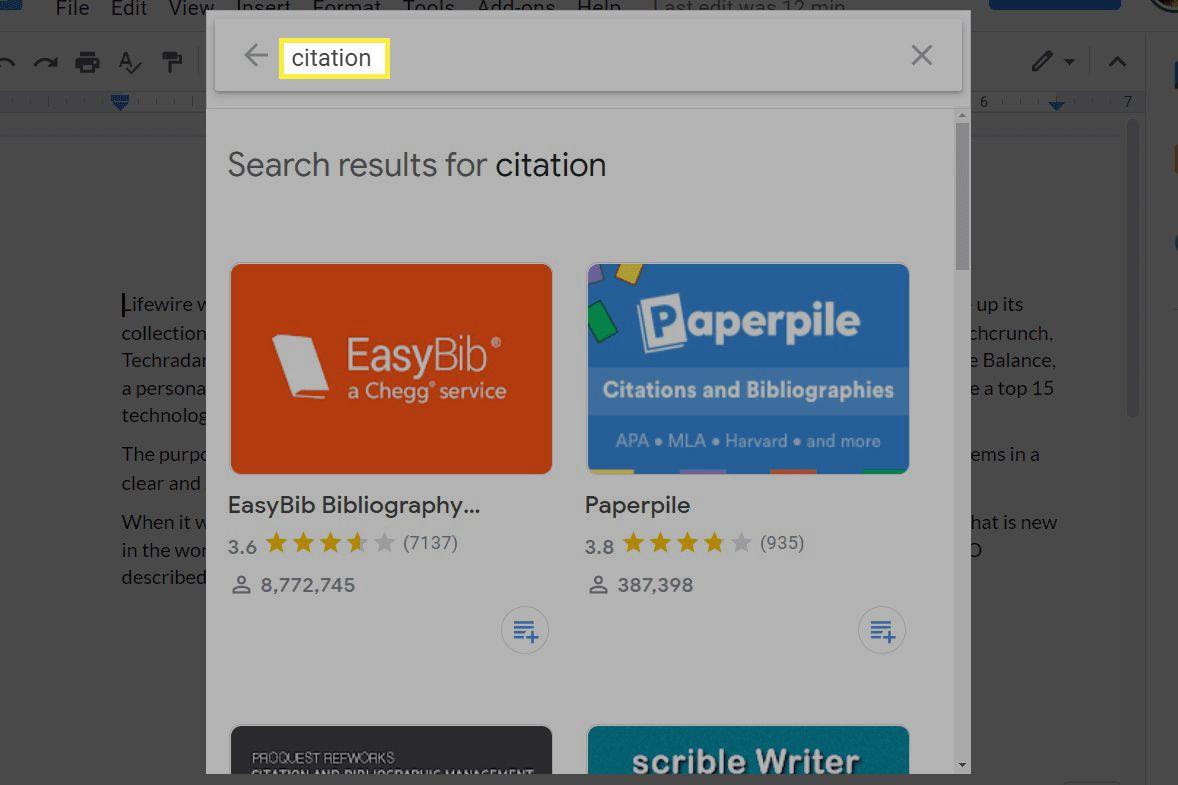 Citation add-ons in Google Docs.