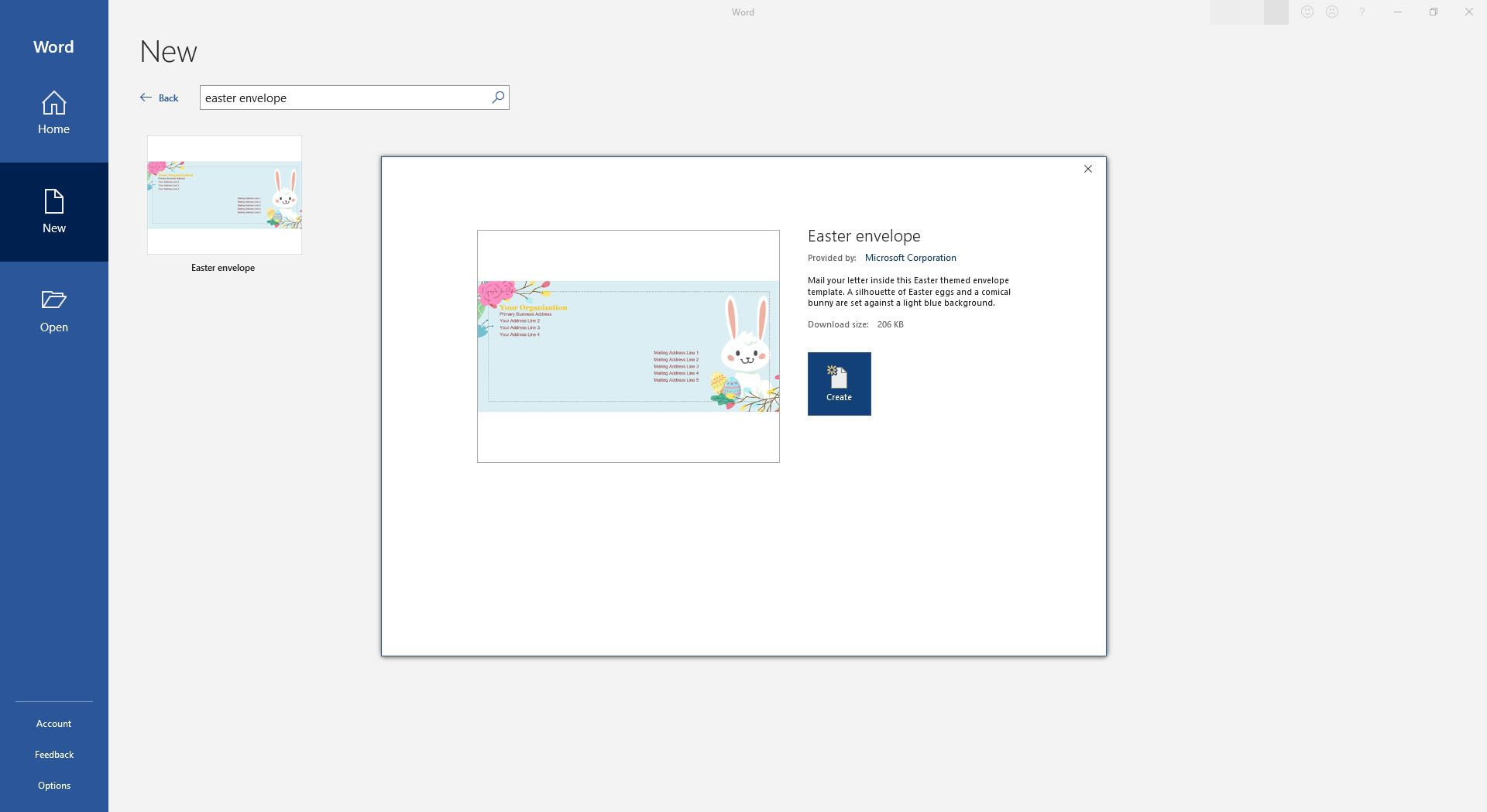 Easter Bunny Envelope Template or Printable for Microsoft Word