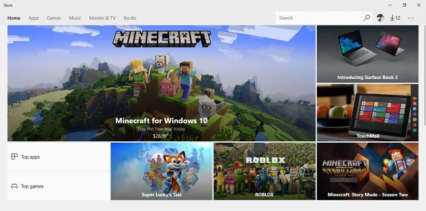 Screenshot of the Microsoft Store