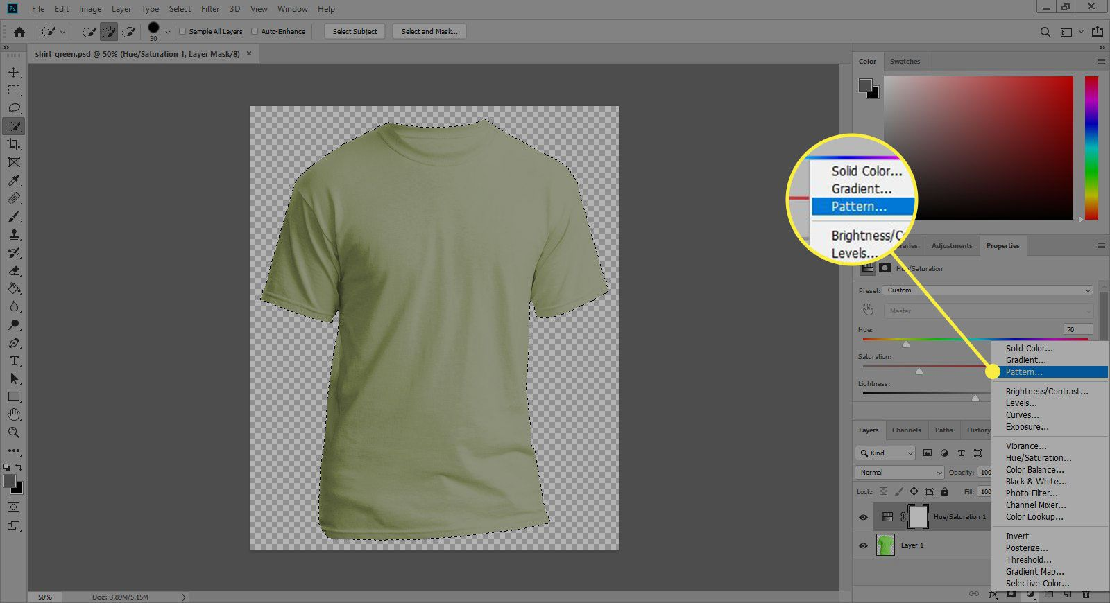 A screenshot of Photoshop with the Pattern command highlighted