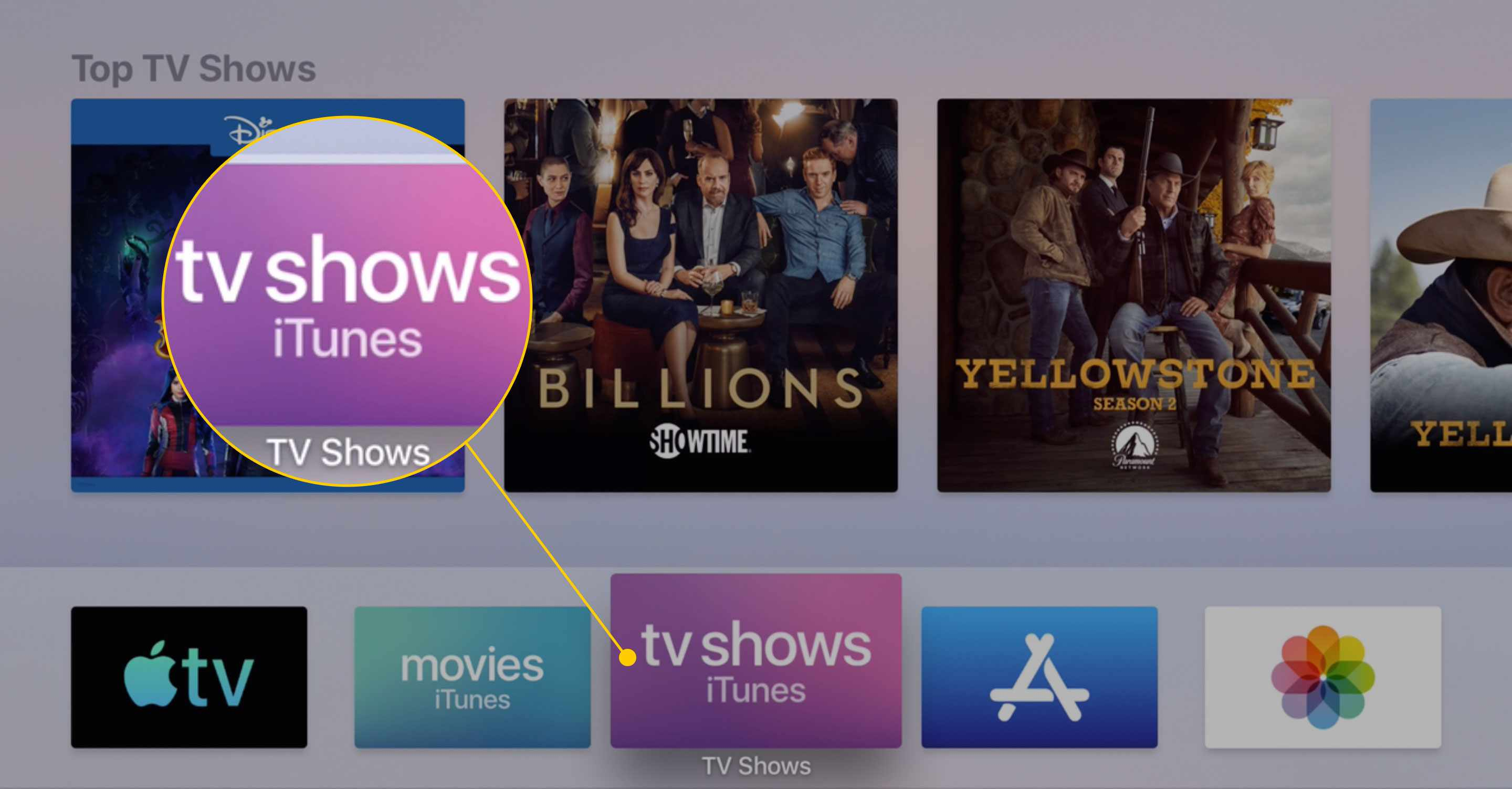 The home screen of an Apple TV with the TV Shows iTunes app highlighted
