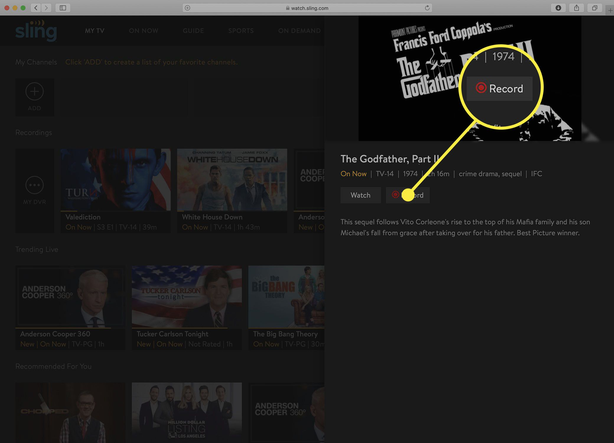 Screenshot of the Sling TV show information screen after a DVR recording is stopped.