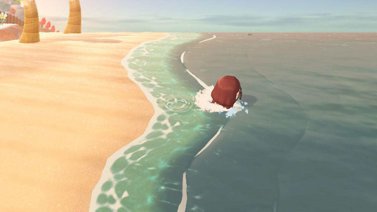 Swimming in Animal Crossing.