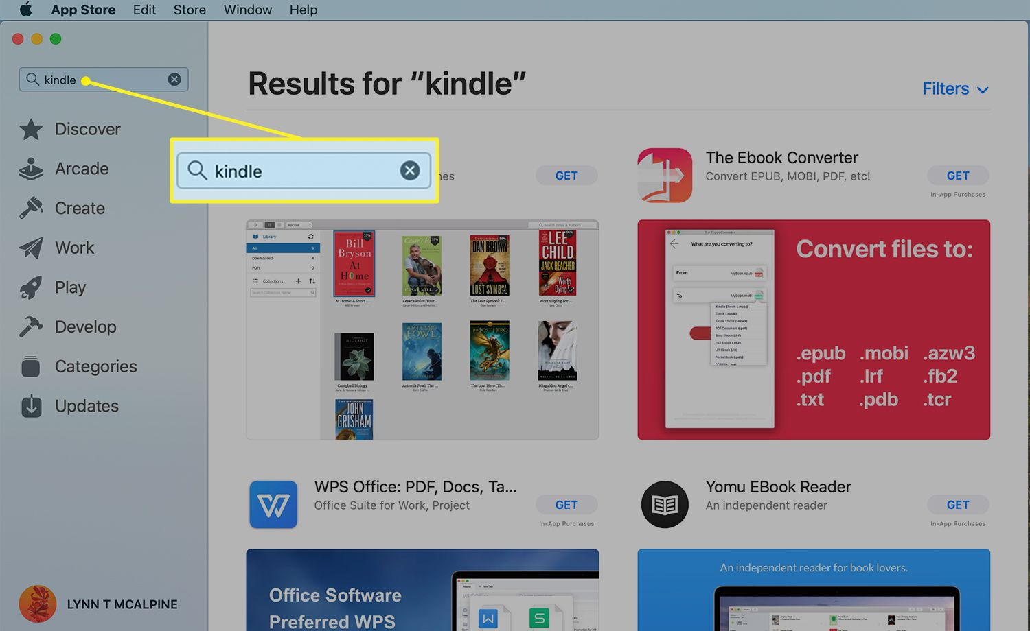 Mac App Store with the search bar highlighted