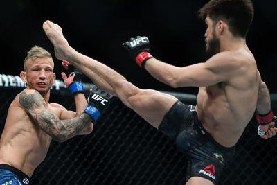 Cejudo lands a devastating kick on UFC on ESPN+ fight night.