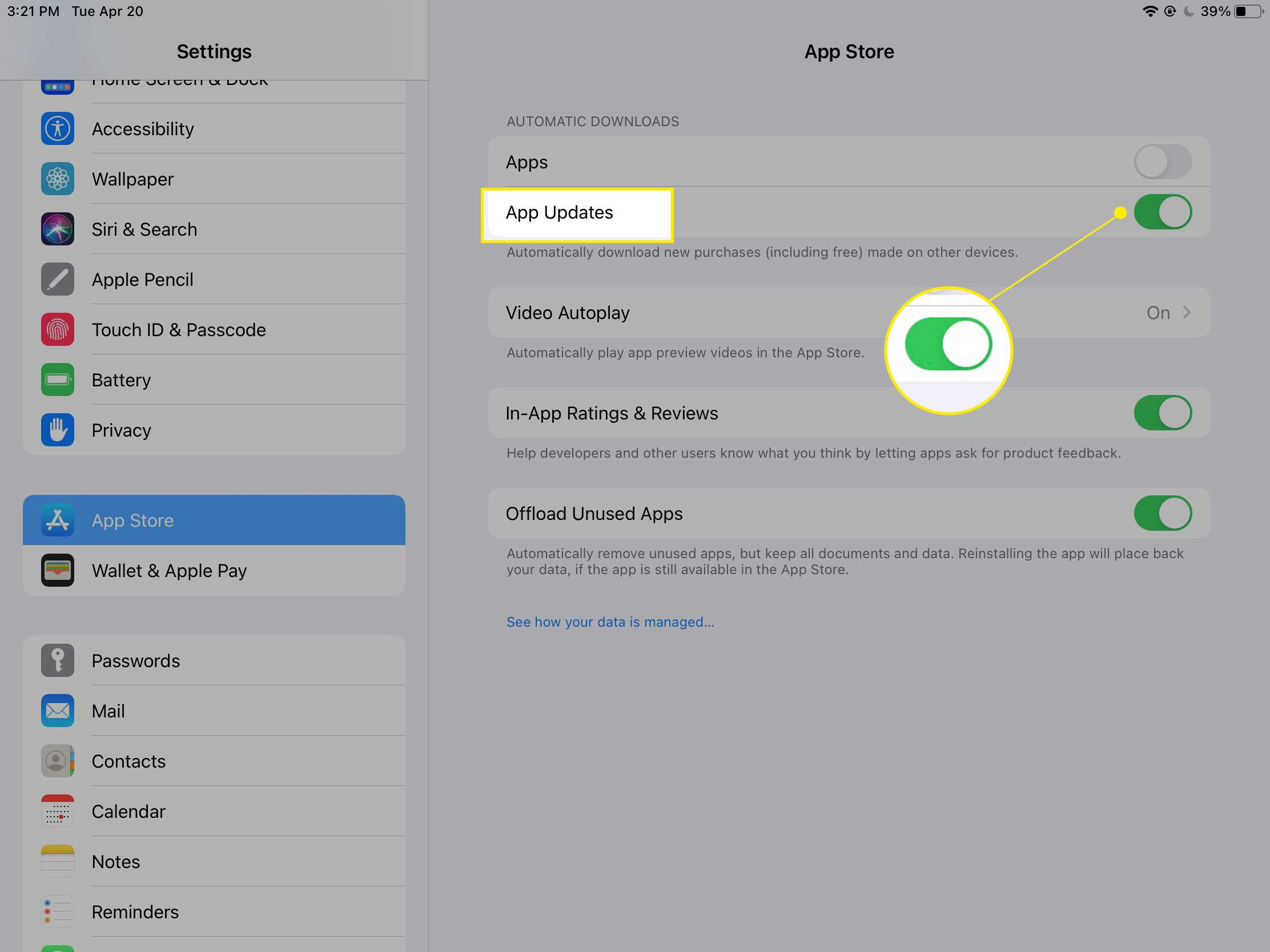 iPad automatic download settings with App Updates and the toggle highlighted