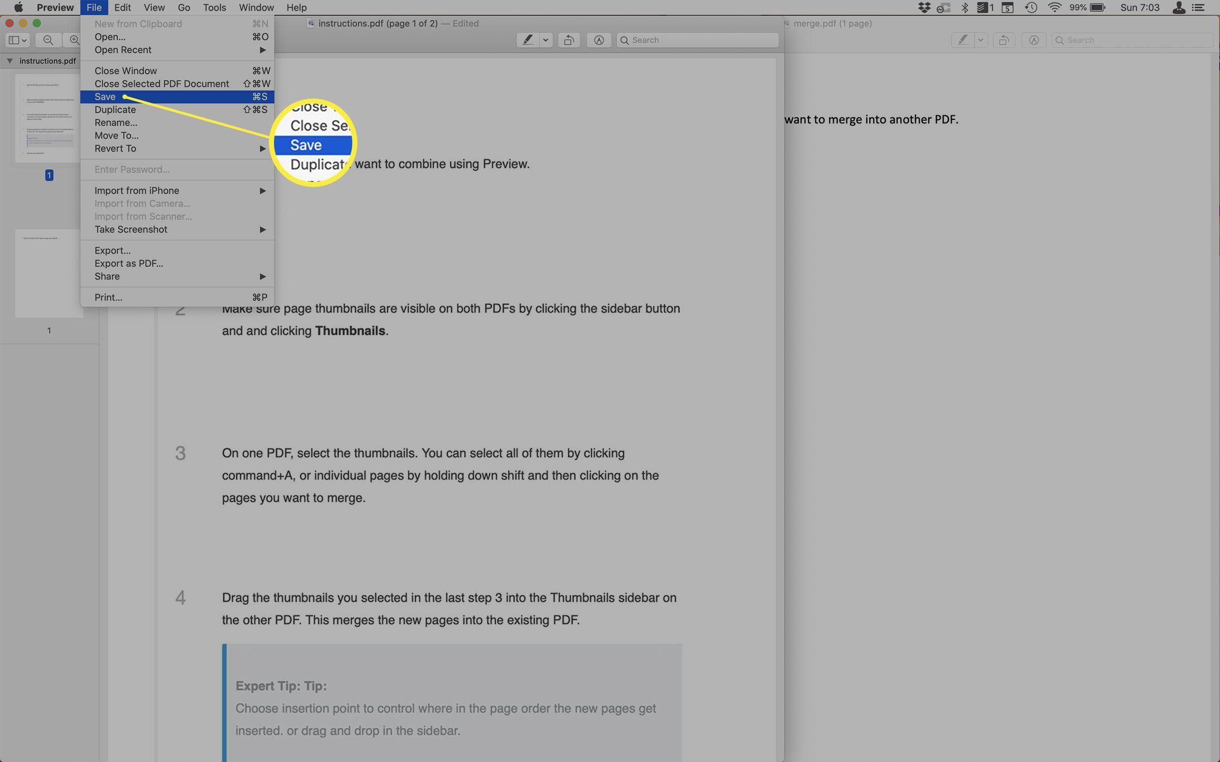 Screenshot of saving a merged PDF in Preview.