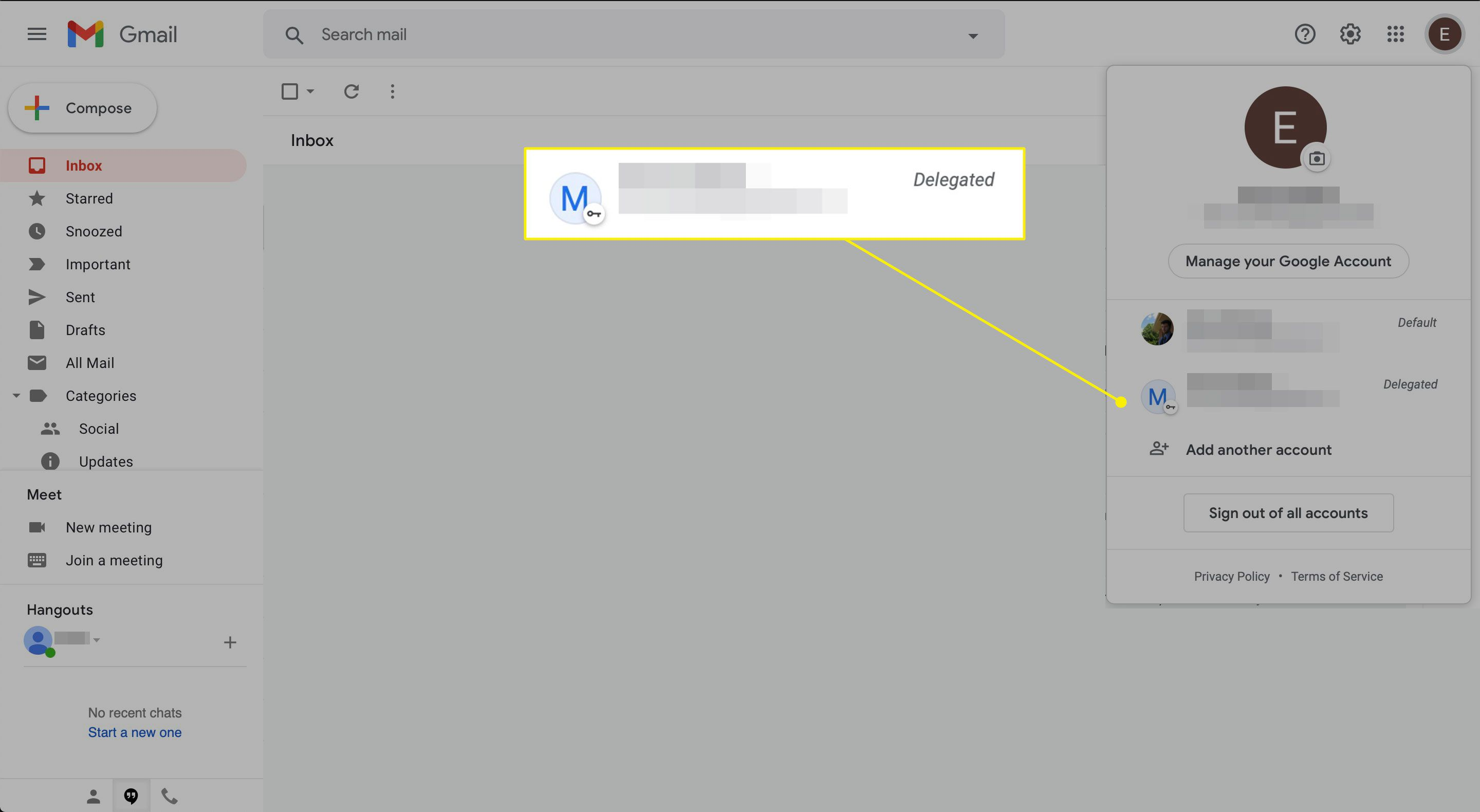 A delegated account in Gmail