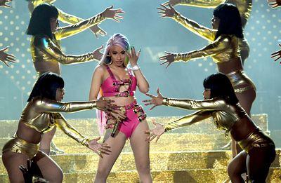 Grammy award nominee Cardi B performing at the SuperBowl