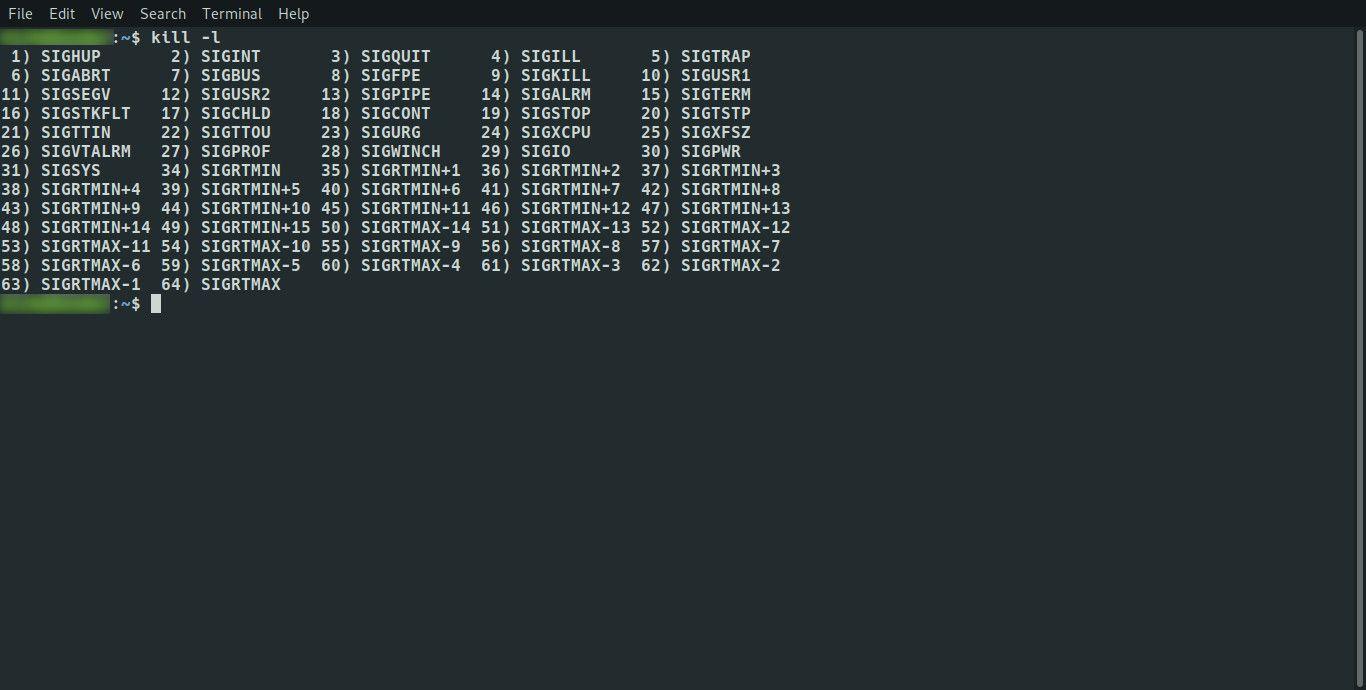 Linux signal list