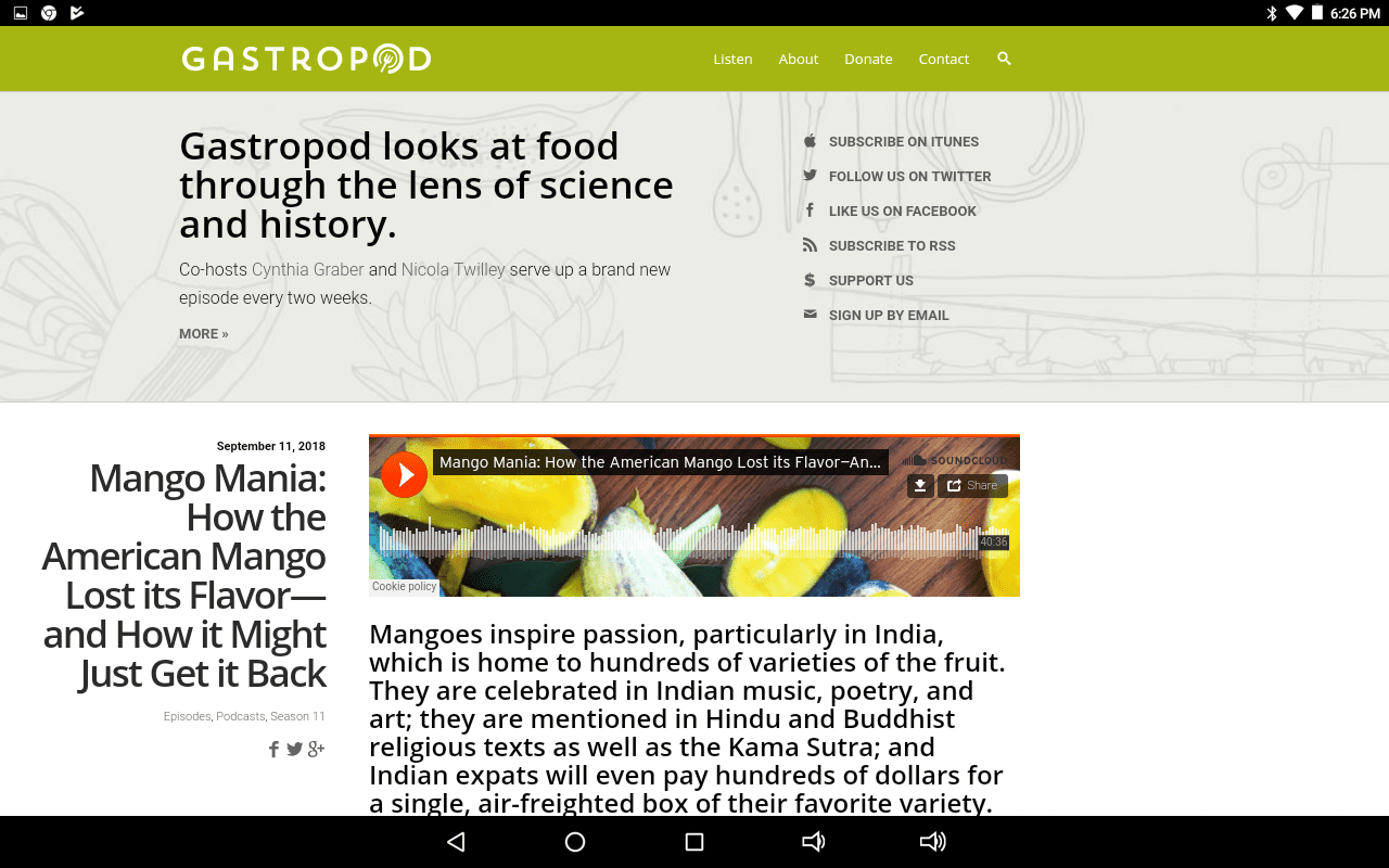 Gastropod podcast home page