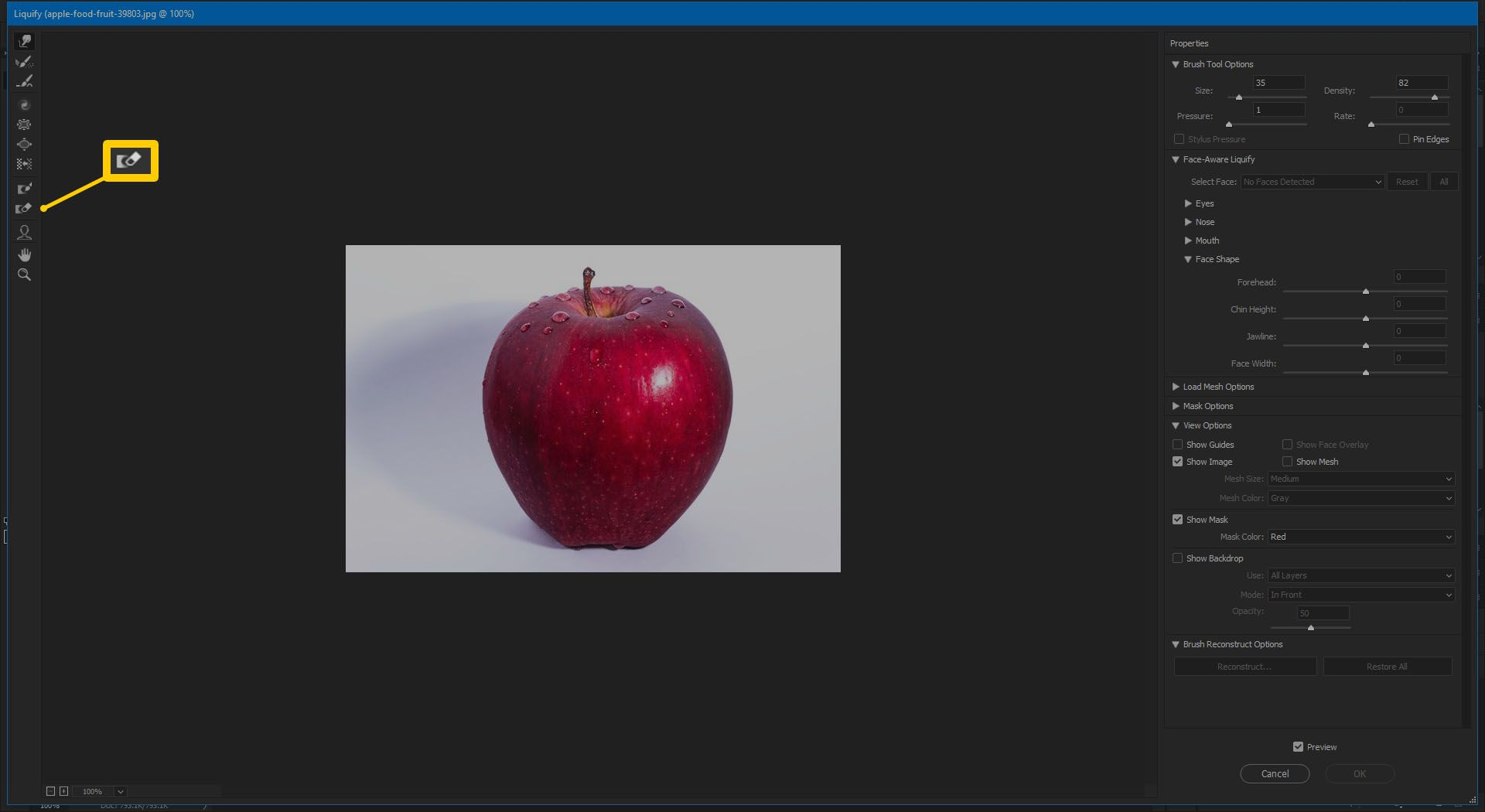 Screenshot of the Thaw Mask Tool in Photoshop CC 2019.