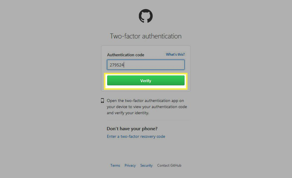 Enter the passcode into the Authentication code field, then select Verify.