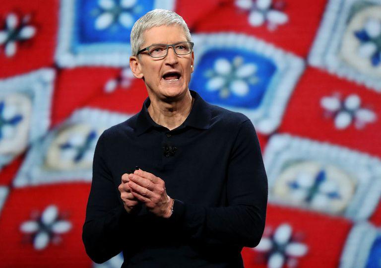 Apple CEO Tim Cook speaking at a keynote