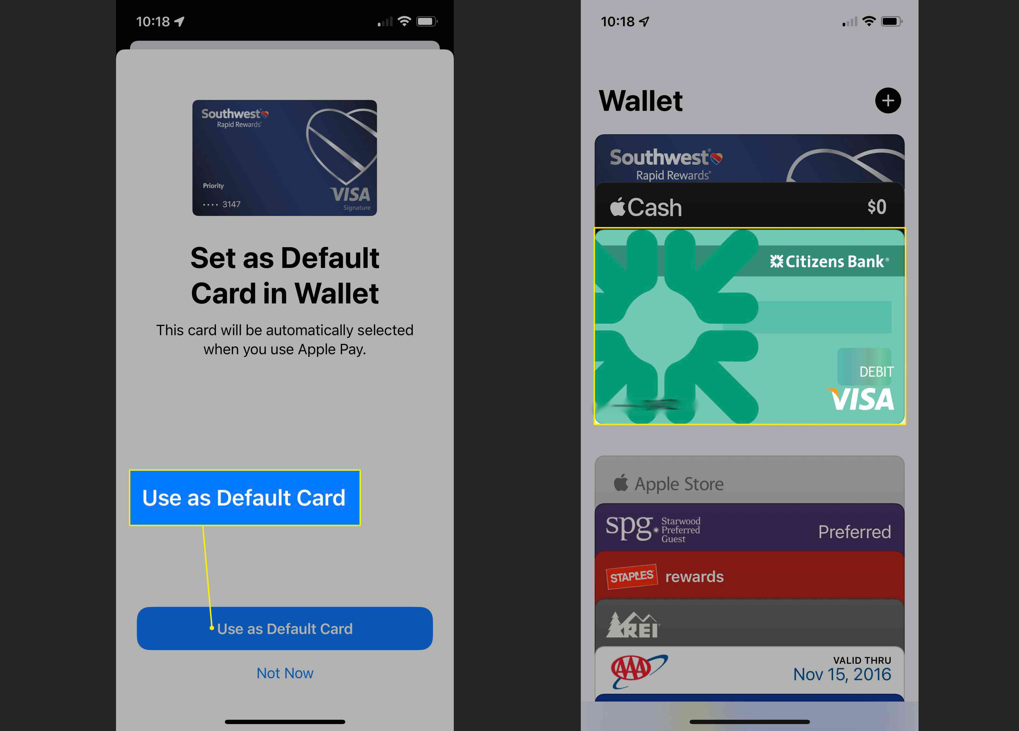 Use a Default Card and Visa Card highlighted in Apple Pay app