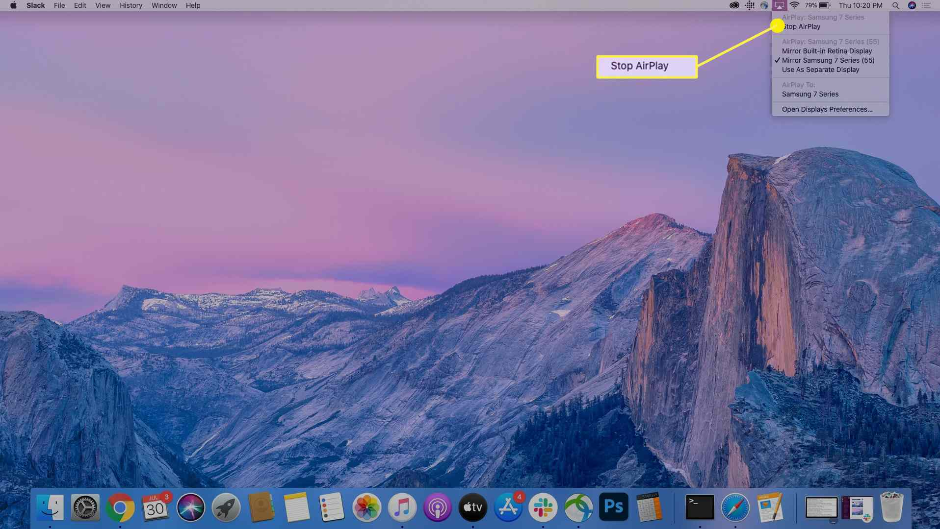 The Stop AirPlay option on a MacBook Pro.