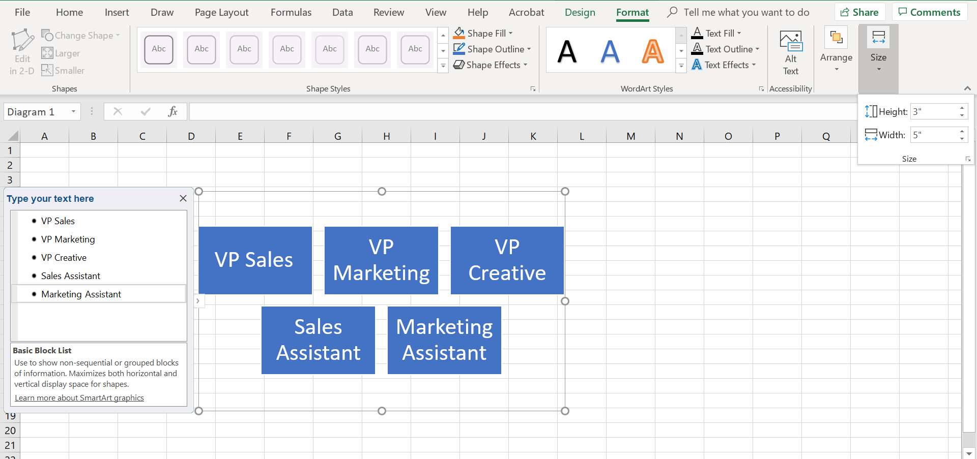 Excel's Format tab for illustrations and other art.