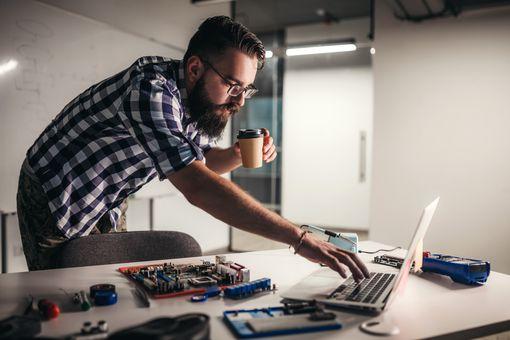 Man building a computer