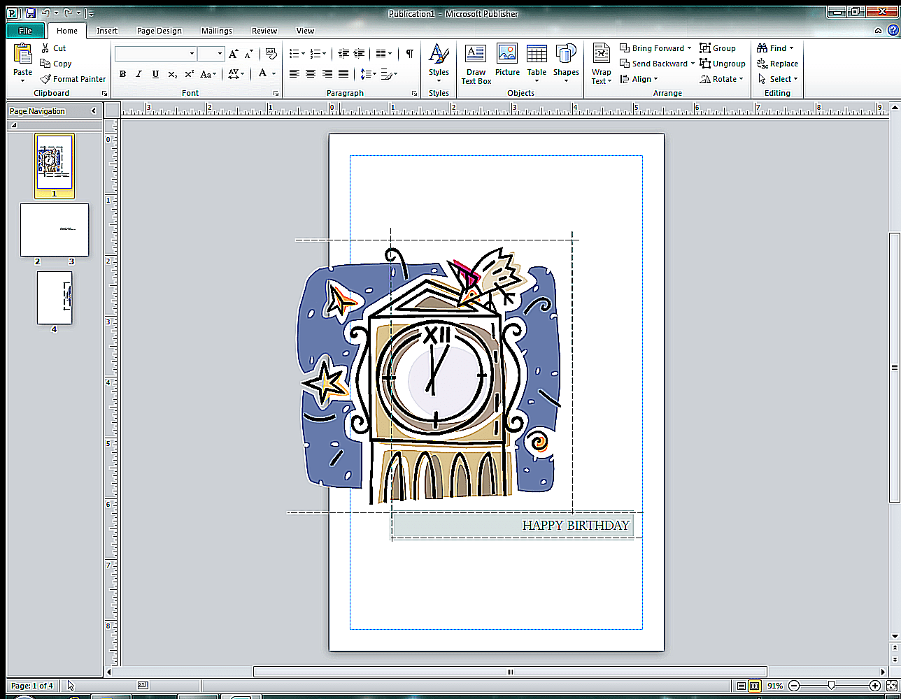 Screenshot Of Creating A Greeting Card In Microsoft Publisher 2010