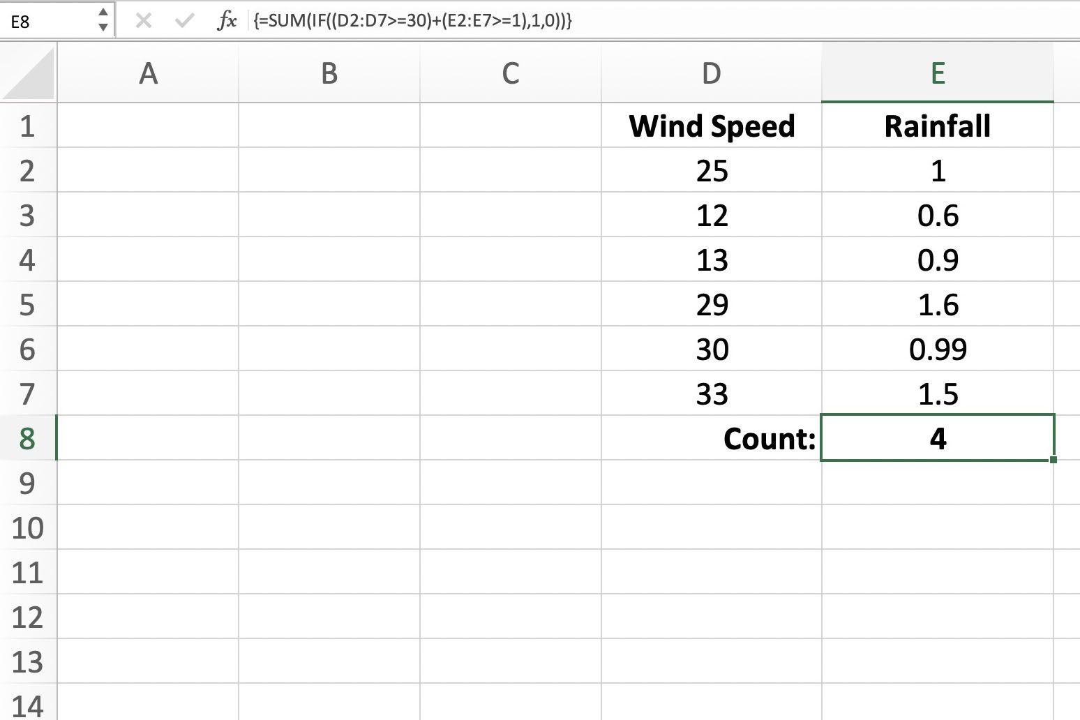 Screenshot of Excel showing how to count cells
