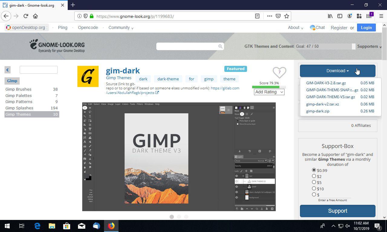 GIMP theme download page